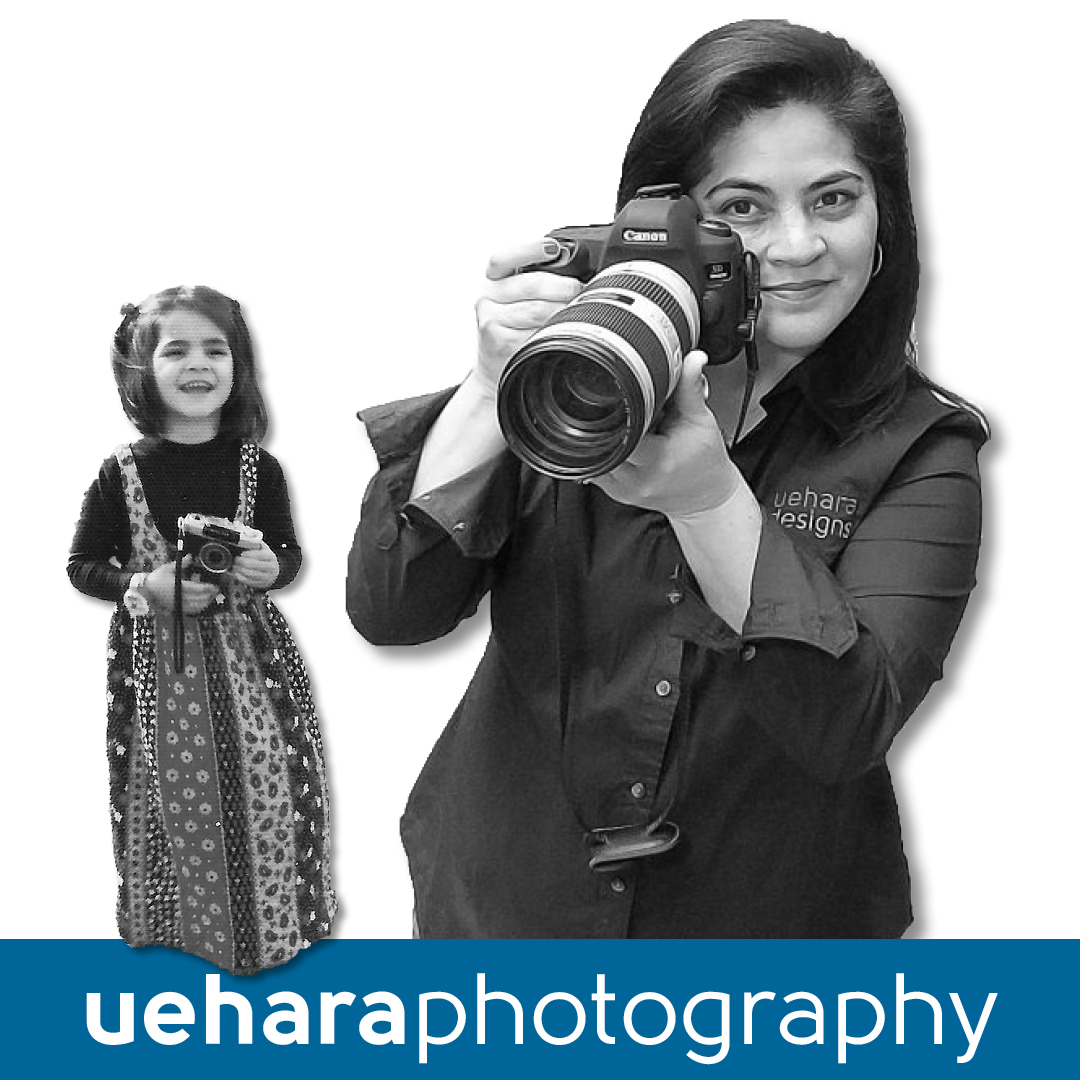 Image of Lee Uehara as little girl holding camera and as an adult holding a camera
